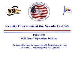 Security Operations At Nevada Test Site
