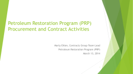 Petroleum Restoration Program Procurement and Contract Activities