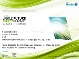biogas to biocng - World Future Energy Summit