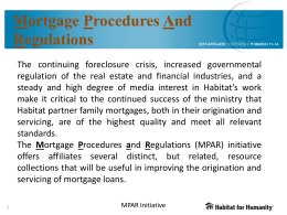 Mortgage Procedures And Regulations