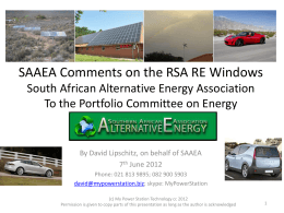 SAAEA - Presentation to the Portfolio Committee on Energy re the