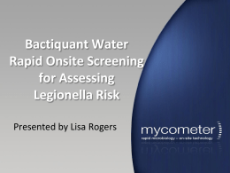 Bactiquant Water Rapid Onsite Screening for Assessing Legionella