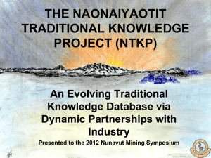 The Naonaiyaotit Traditional Knowledge Project