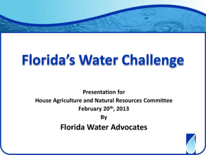Florida`s Water Resources Priorities Protecting State`s economy