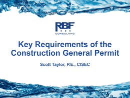 Key Requirements of the Construction General Permit