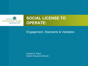 Social License to Operate - Center for Sustainable Shale Development