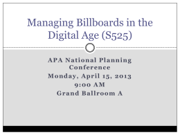 Managing Billboards in the Digital Age (S525)