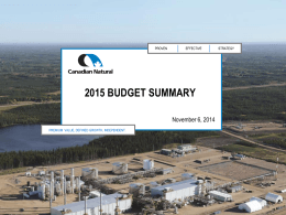 2015 Budget Summary - Canadian Natural Resources Ltd.