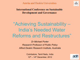 `Achieving Sustainability - India`s Needed Water