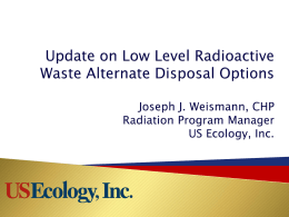 USE_Update of LLRW Alternate Disposal Options_080511