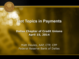 Card Associations & EMV - Dallas Chapter of Credit Unions