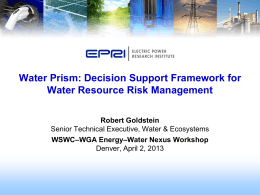 Water Availability and Resource Risk Management