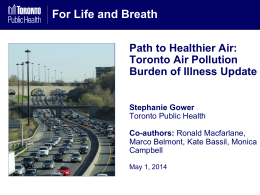 Burden of Illness from Air Quality in Toronto – Stephanie Gower