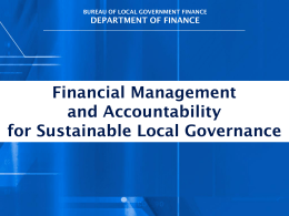 Financial Mgnt and Accountability for Sustainable Local Governance