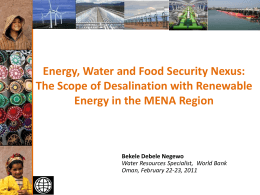 Energy, Water and Food Security Nexus: The Scope of Desalination
