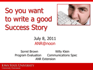 Writing Good Success Stories - Iowa State University Extension and