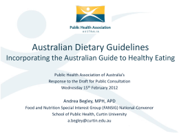 Guidelines - Public Health Association of Australia