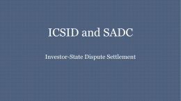 ICSID and SADC: Investor-State Dispute Settlement
