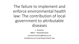 The failure to implement and enforce environmental health law: The