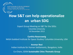 How S&T can help operationalize an urban SDG