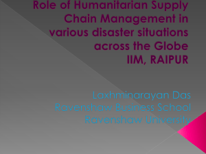 Role of Humanitarian Supply Chain Management in