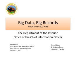 Big Data, Big Records (Department of Interior)