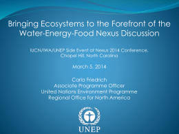 Bringing ecosystems to the forefront of the Nexus discussions