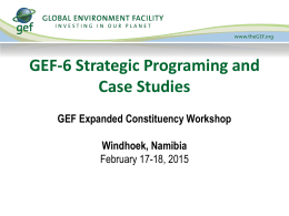 GEF-6 Strategic Programing and Case Studies