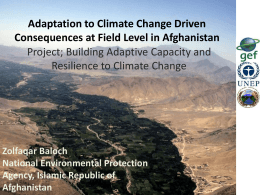 Building adaptive capacity and resilience to climate change in