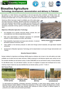 Biosaline Agriculture- Technology development, demonstration and