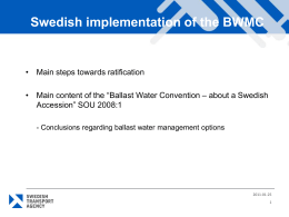 Swedish Experience implementing the BWMC, Henrik Ramstedt