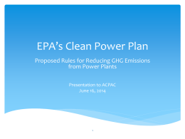 EPA GHG Rule for Power Plants