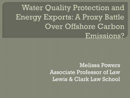 Water Quality Protection and Energy Exports