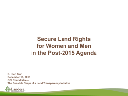 Secure Land Rights for Women and Men in the Post
