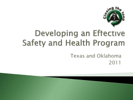 Developing an Effective Safety and Health Program