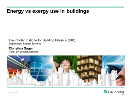 Energy vs exergy use in buildings