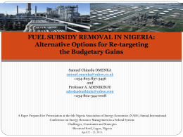 fuel subsidy removal in nigeria: analysis of dynamic general