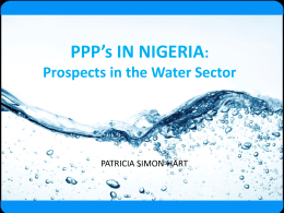 Prospects in the Water Sector