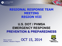 U.S. DOT/PHMSA Emergency Response Prevention & Preparedness