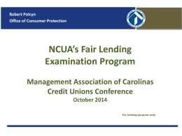 NCUA`s Fair Lending Examination Program