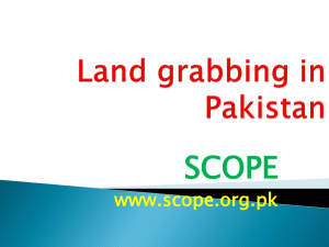 Land grabbing in Pakistan - Commercial Pressures on Land
