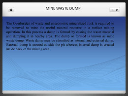 Mine Waste dumps and tailing dams
