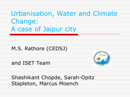 Urbanisation, Water Scarcity and Climate Change - Hrdp