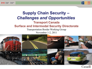 Supply Chain Security - Serge Lavoie, Transport Canada