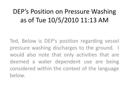 DEP Position on Pressure Washing