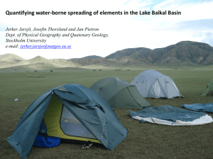 Quantifying water-borne spreading of elements in the Lake Baikal