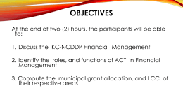 PPT for the ACT Training on Community Finance