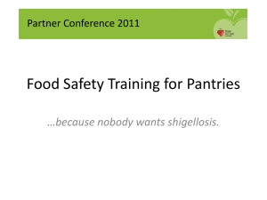 Food Safety Training 2012 for Pantries: PowerPoint