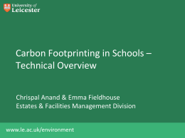 Carbon Footprinting Workshop II - technical overview