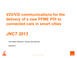 V2V/V2I communications for the delivery of a new PFME POI to
